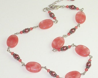 Cherry Quartz Necklace Freshwater Pearl Swarovski Crystal Necklace - Cherries Jubilee