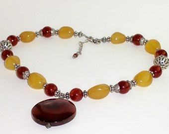 Golden Chalcedony and Carnelian Necklace, Pendant Necklace, Carnelian Pendant Necklace, Carnelian and Chalcedony Necklace