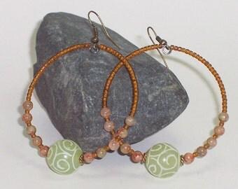 Carved Jade Bead Hoop Earrings, Beaded Hoop Earrings, Boho Earrings, Gypsy Earrings