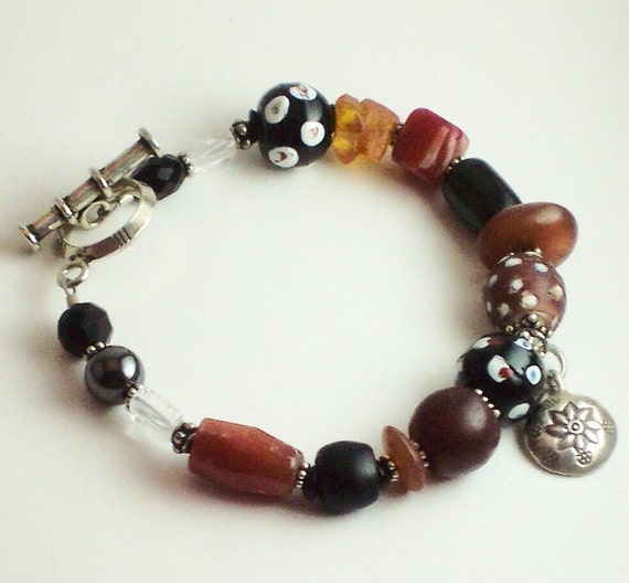 African Trade Bead Bracelet, Ethiopian Trade Bead Bracelet, Skunk Bead African Trade Bead Bracelet