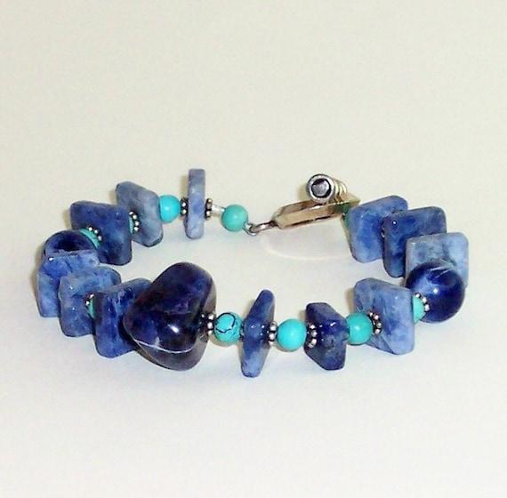 Sodalite and Turquoise Bracelet, Blue Gemstone Bracelet