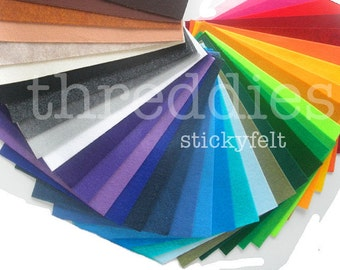 5 sheets of threddies stickyfelt -  peel and stick, adhesive-backed sticky felt sheets - choose from 38 colors