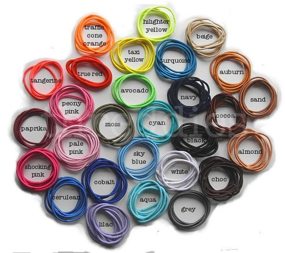 100 ponytail elastics - ponytail holders - PICK your ASSORTMENT from 28 COLORS - no metal - skinny