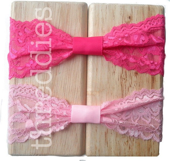 10 ruched stretch lace headbands - scallop edge w/ grosgrain loop - super stretchy - fits babies thru adults - NEW COLORS