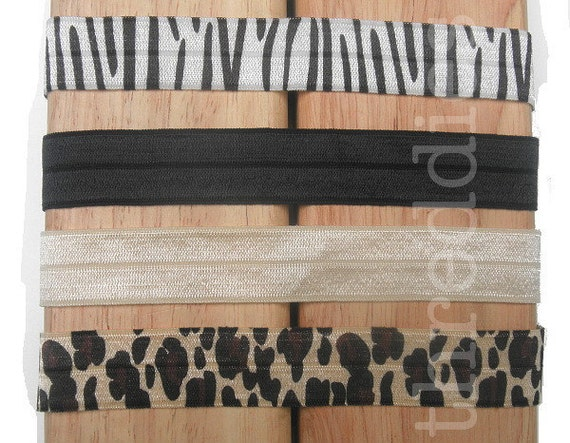 10 super soft, thin and light satin elastic headbands - pick your colors - zebra, black or champagne