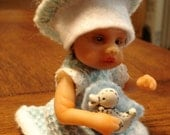 HAND SCULPTED CLAY POSE ABLE TODDLER BABY DOLL and OUTFITS