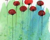 Watercolor Painting: Watercolor Flower Painting -- Art Print --  Zip Zap -- Red Flowers -- 8x10