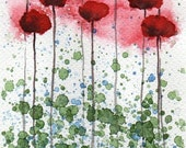 Watercolor Painting: Watercolor Flower Painting -- Mini Art Print -- Glowing -- Red Flowers -- ACEO Print