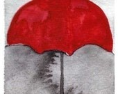 Watercolor Painting: Watercolor Illustration -- Art Print --  Under My Red Umbrella  -- 5x7