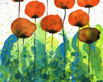 Watercolor Painting: Watercolor Flower Painting -- Art Print --  Slurp -- Orange Flowers -- 8x10