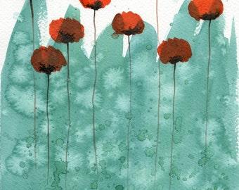 Watercolor Painting: Watercolor Flower Painting -- Art Print --  Thousand Pound Goldfish -- Orange Flowers on Aqua -- 8x10