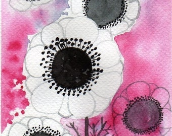 Watercolor Painting: Watercolor Flower Painting -- Mini Art Print -- White Anemone Flowers -- ACEO Print
