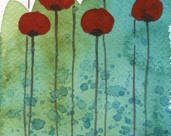 Watercolor Painting: Watercolor Flower Painting -- Art Print --  Zip Zap -- Red Flowers -- 5x7