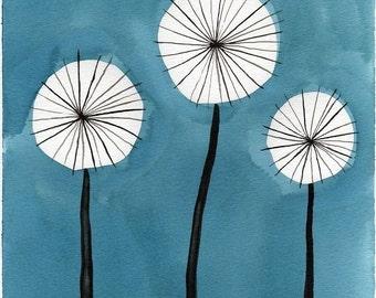 Watercolor Painting: Watercolor Flower Painting -- Mini Art Print -- Aqua Dandelions -- ACEO Print