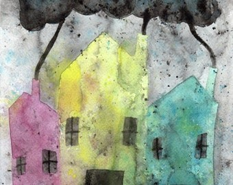 Watercolor Painting: Watercolor Illustration -- Art Print --  The Street Where I Live -- Houses -- 11x14