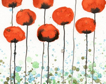 Watercolor Painting: Watercolor Flower Painting -- Art Print --  Jump Up -- Orange Flowers -- 11x14