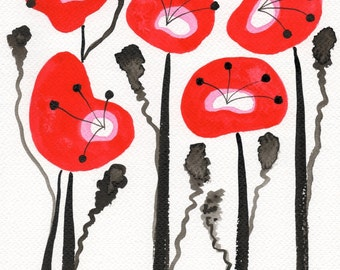 Watercolor Painting: Watercolor Flower Painting -- Art Print --  Scarlet Poppies -- Scandinavian Flowers -- 8x10