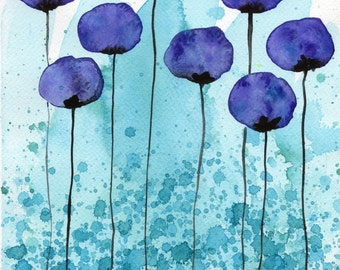Watercolor Painting: Watercolor Flower Painting -- Art Print --  Persuasive -- Purple Flowers -- 11x14