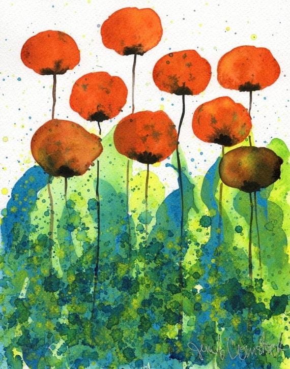 Watercolor Painting: Watercolor Flower Painting -- Art Print --  Slurp -- Orange Flowers -- 8x10