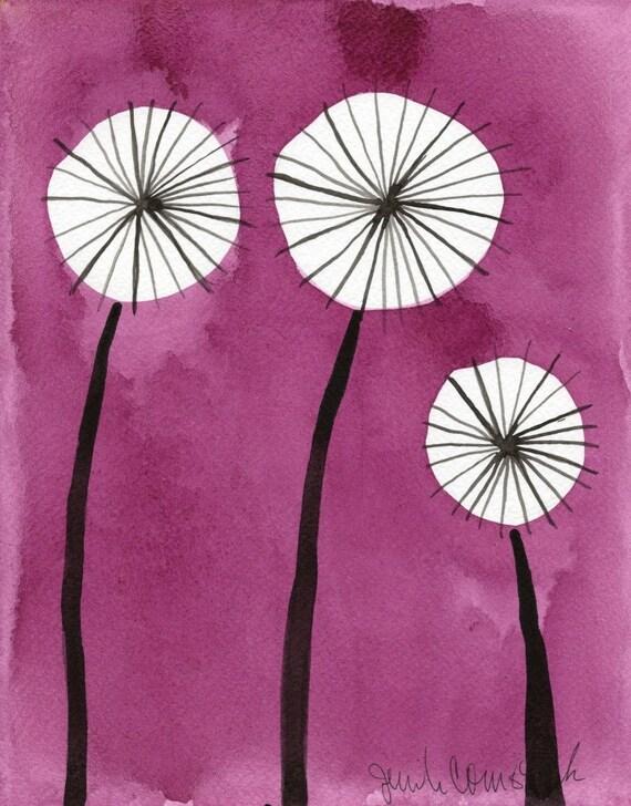 Funky Pink Dandelions --  Flowers -- Original Watercolor Painting 8x10