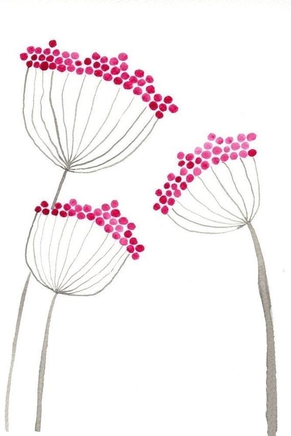 Watercolor Painting: Watercolor Flower Painting -- Art Print --  Pink Allium Flowers -- 5x7