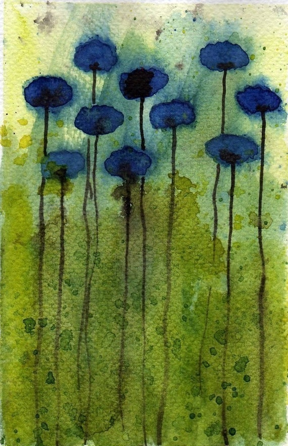 Watercolor Painting: Watercolor Flower Painting -- Mini Art Print -- Daydreaming -- Blue Flowers  -- ACEO Print
