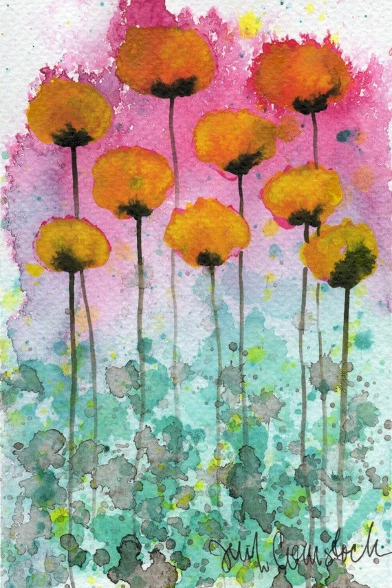 Watercolor Painting: Watercolor Flower Painting - Art Print - In Pursuit of Forgotten Dreams - Yellow and Pink - 5x7