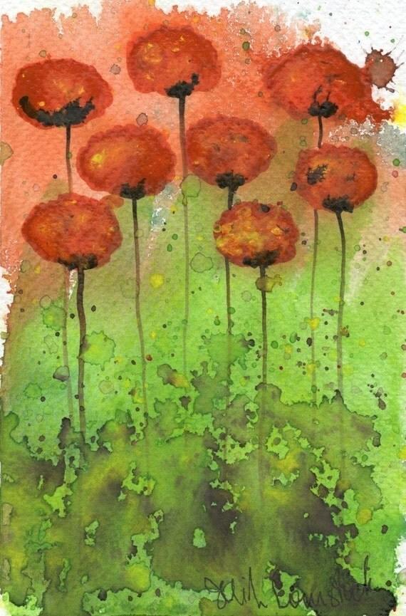 Watercolor Painting: Watercolor Flower Painting -- Art Print --  Toxic -- Orange Flowers -- 5x7
