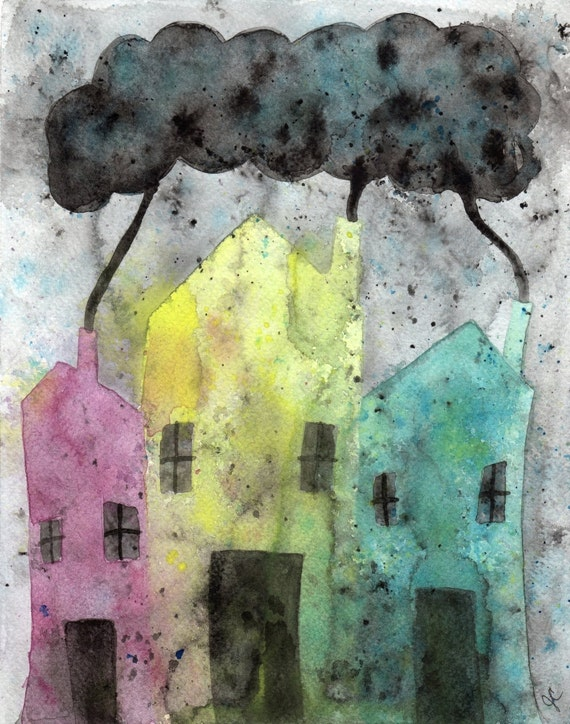 Watercolor Painting:  Watercolor Illustration -- Art Print --  The Street Where I Live -- Houses -- 8x10
