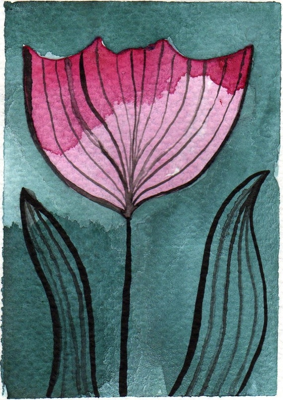 Stripey Pink Flower -- Original Watercolor ACEO