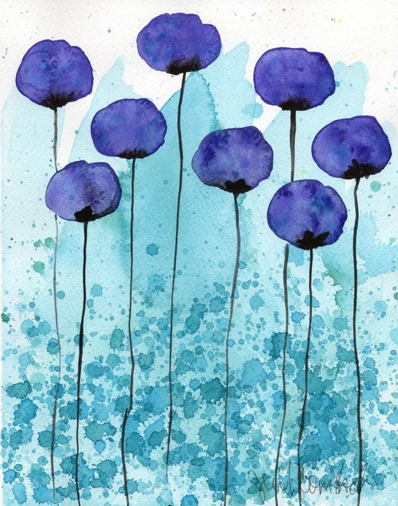 Watercolor Painting: Watercolor Flower Painting -- Art Print --  Persuasive -- Purple Flowers -- 8x10