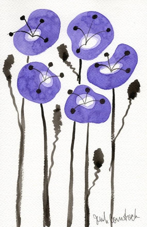 Watercolor Painting: Watercolor Flower Painting -- Art Print --  Purple Poppies  -- Scandinavian Flowers -- 5x7