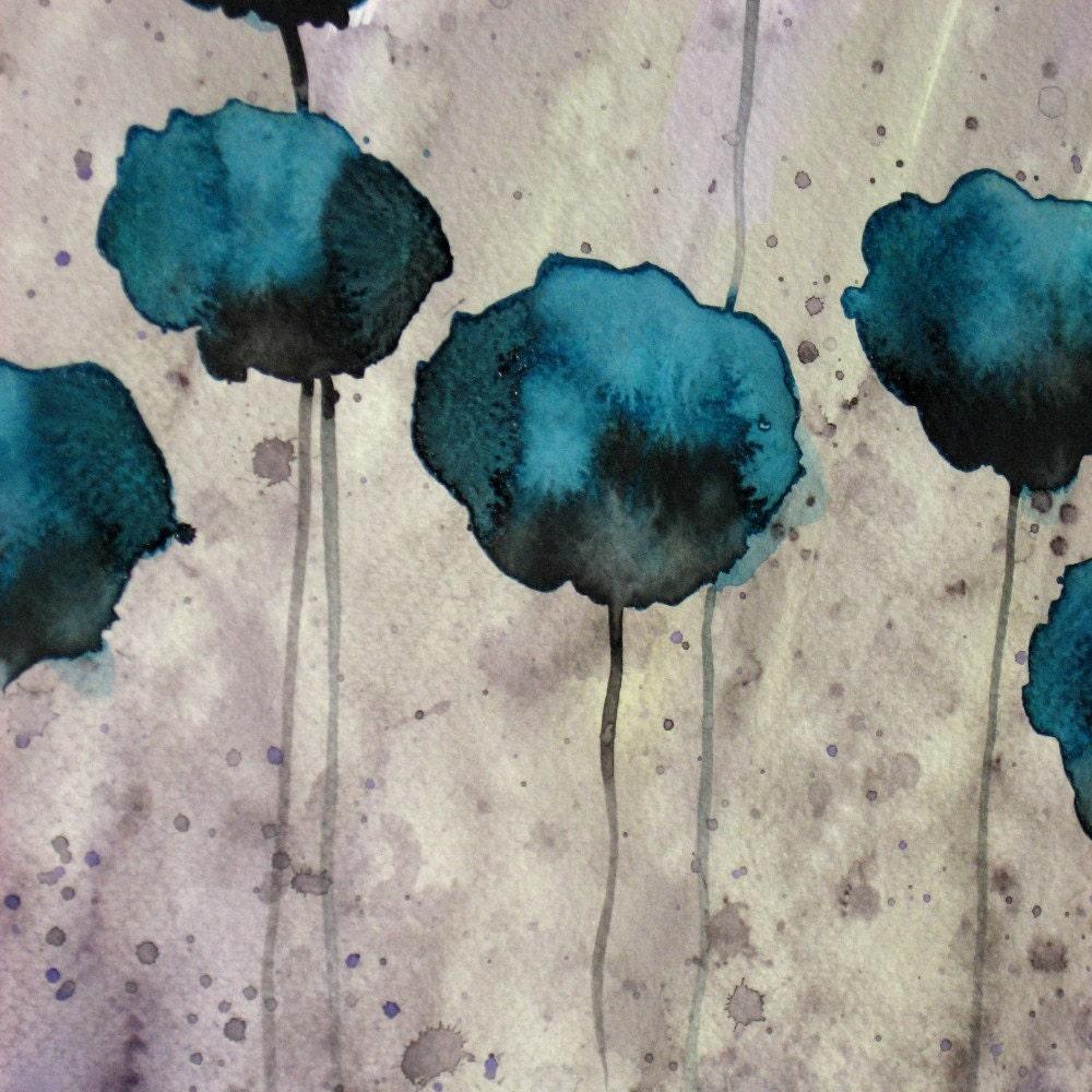 In Too Deep Teal Flowers Original Watercolor Painting