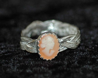 Celtic Lady Sterling Cameo  Ring Size 8