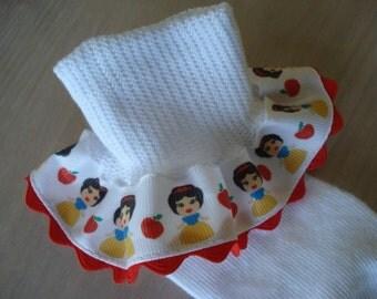 Snow Princess with Apple on White Ribbon Ruffle socks