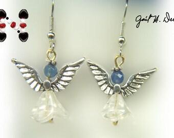 Angel Earrings with Blue Onyx