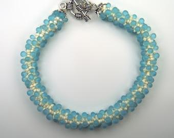 Aqua and Bone Bracelet