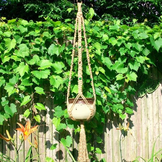 macrame plant hanger Alex green / dark brown