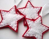 SALE 3 Little Stars, felt Christmas ornaments
