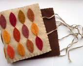 SALE Autumn Leaves, Felt Coffee Cosy / Cozy, brown, orange
