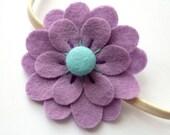 Sale: Lilac Flower, purple and turquoise felt flower headband