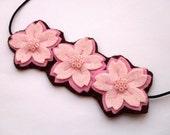 Cherry Blossom Trio, felt flower headband, pale pink - prototype