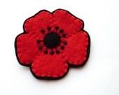 SALE Medium Red Poppy, felt flower brooch