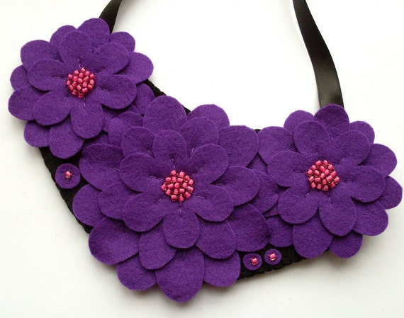 SALE Felt flower necklace, purple and pink