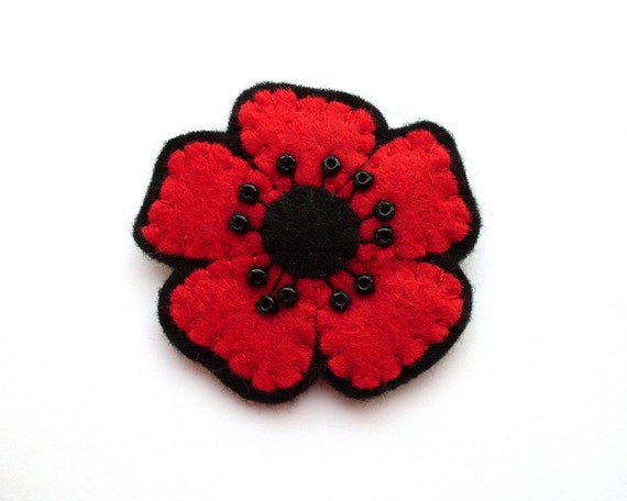 SALE Little Red Poppy, felt flower brooch