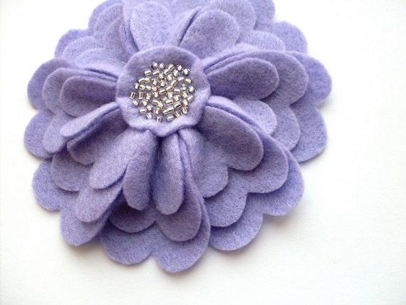 SALE Lilac Purple Felt Flower Brooch