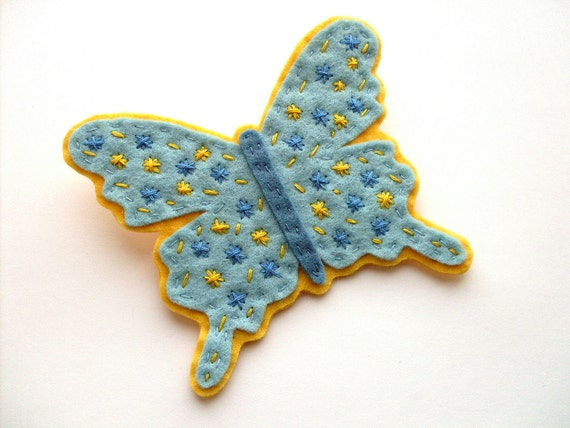 SALE Large Felt Butterfly Brooch, sky blue, sunny yellow, spring