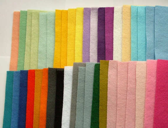 40 Not Quite Perfect Wool Blend Felt Squares - set H