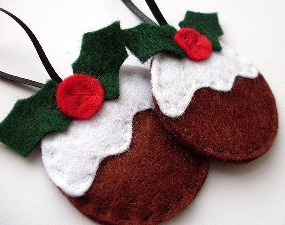 2 Christmas Pudding Ornaments