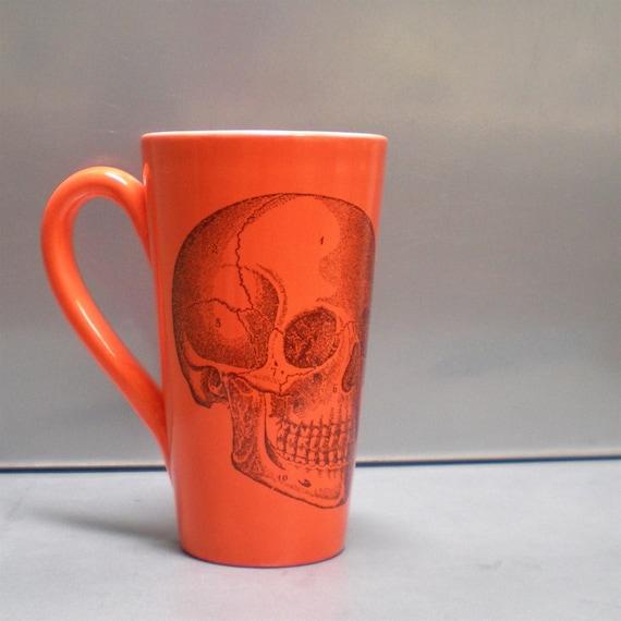 Tangerine Skull Ceramic Mug